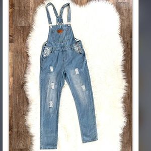Jean Distressed Overalls